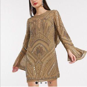 Khaki embellished mini dress